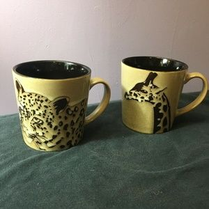 Other - Wildlife Jaguar And Giraffe 2 Oversize Coffee Mugs